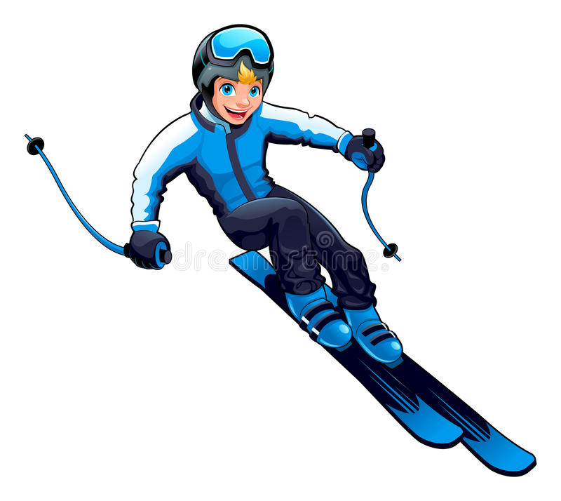 Young skier royalty free stock photos