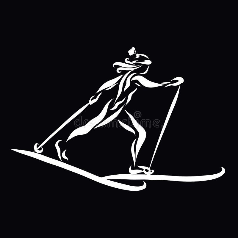 Young slim athlete running skiing, winter sport, black background royalty free illustration