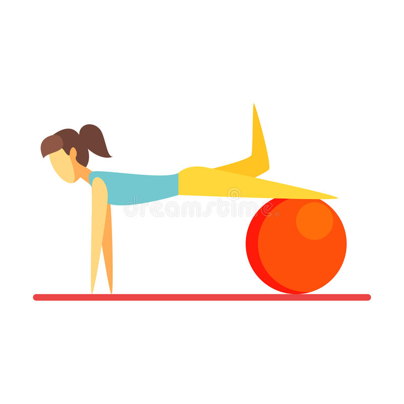 Young slim brunette woman exercising with an orange fitball. Colorful cartoon character stock illustration