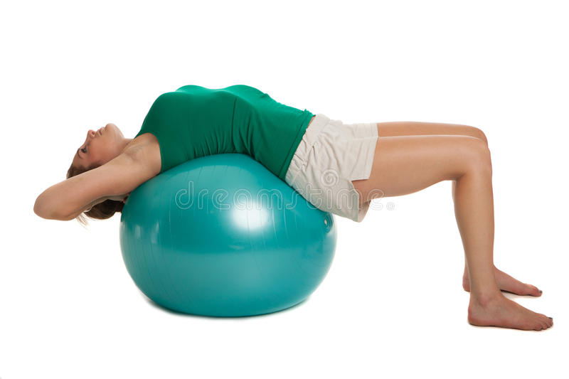 Young Slim Girl Exercise with Fitness Ball
