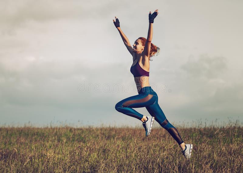 Young slim sports woman stock image
