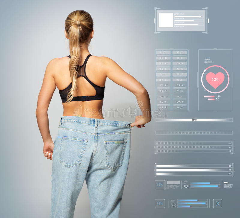 Young slim sporty woman in large size pants stock image