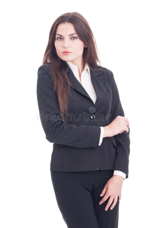 Young slim and tall business woman feeling royalty free stock photo