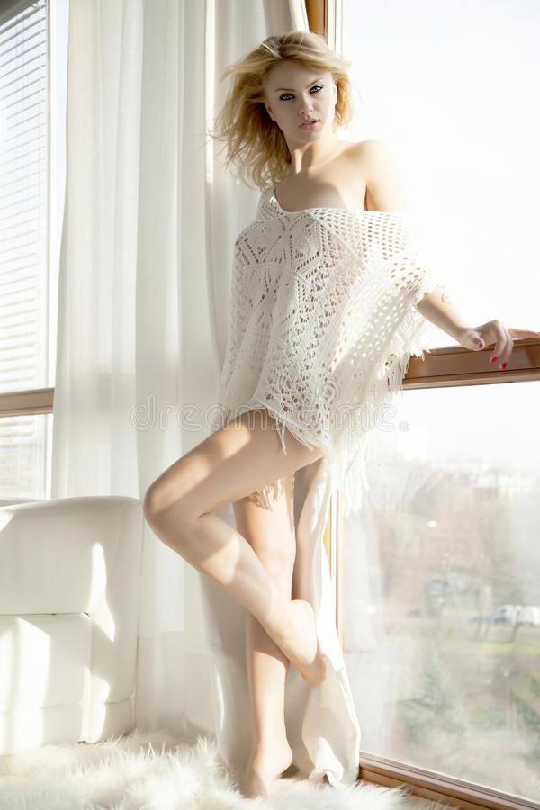 Free Young Slim Woman In Brown Sweater Against The Window Royalty Free Stock Photography - 58229687