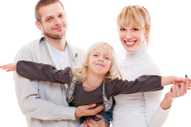 Young smiley family stock photography