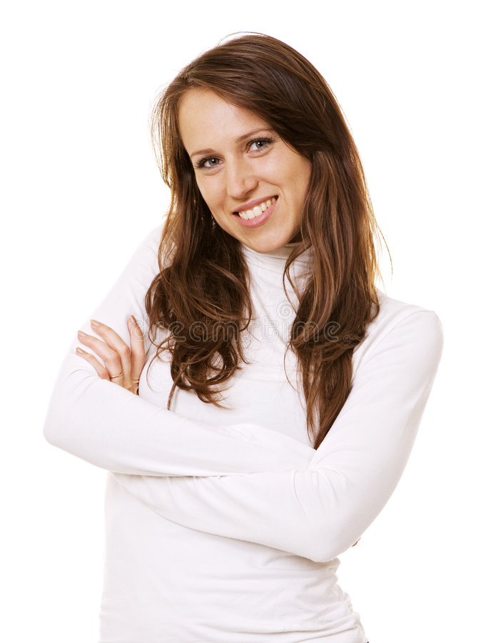 Young smiley woman in white royalty free stock images