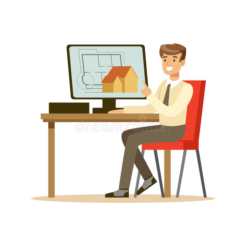 Young smiling architect working on his project using computer, colorful character vector Illustration. Isolated on a white background vector illustration