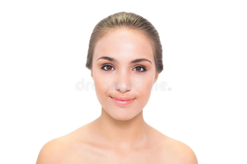 Young Smiling Brunette Woman Looking At Camera Royalty Free Stock Image