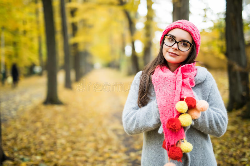Young smiling brunette woman wearing knitted sweater, gloves, scarf and hat. Beautiful natural young smiling brunette woman wearing knitted sweater, gloves royalty free stock images
