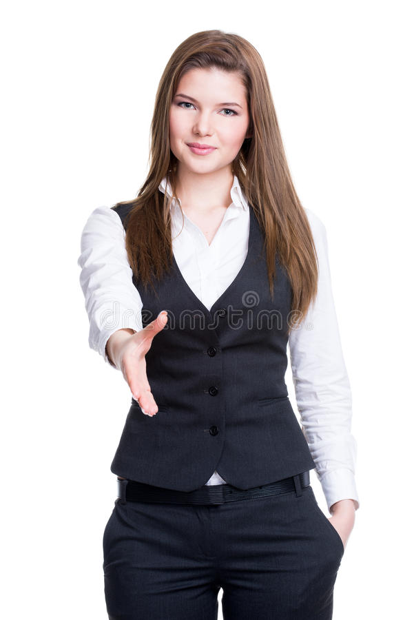 Young smiling business woman give handshake. Portrait of beautiful young smiling business woman give handshake - isolated on white stock photography