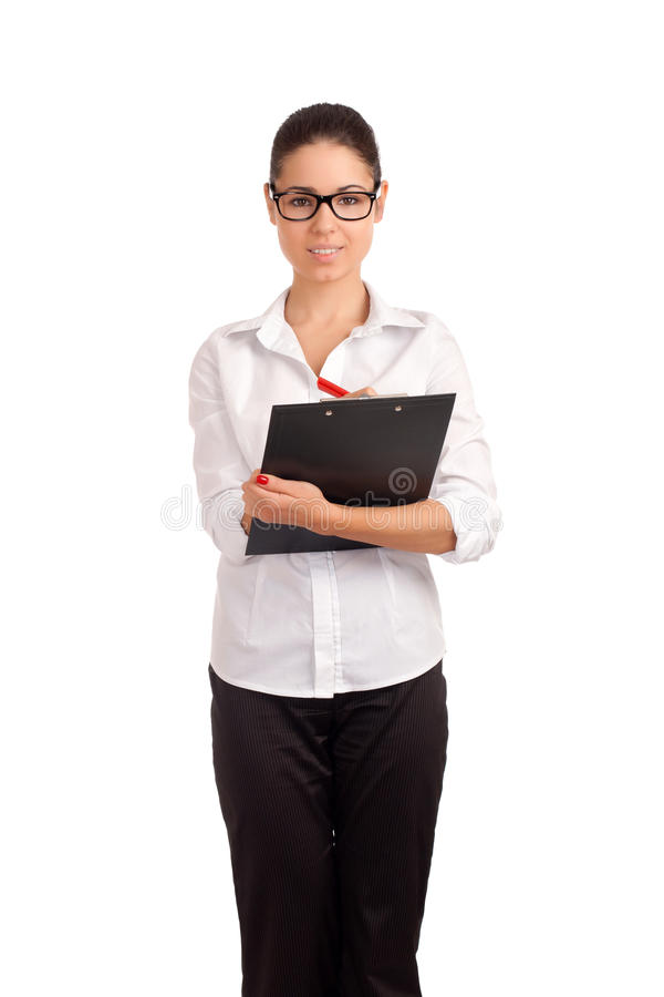 Download Smiling Business Woman Holding Clipboard Stock Photo - Image: 29712212