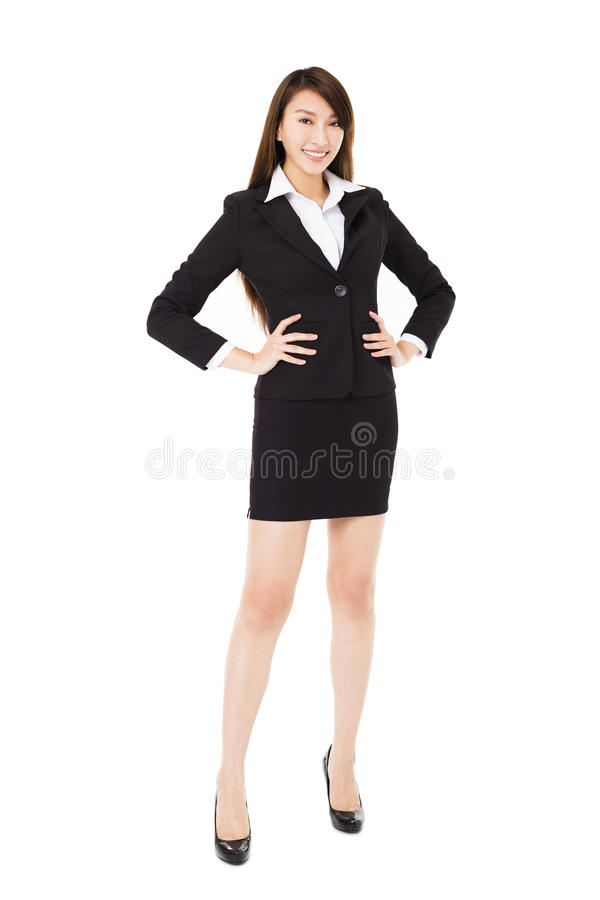 Young smiling business woman isolated on white royalty free stock image