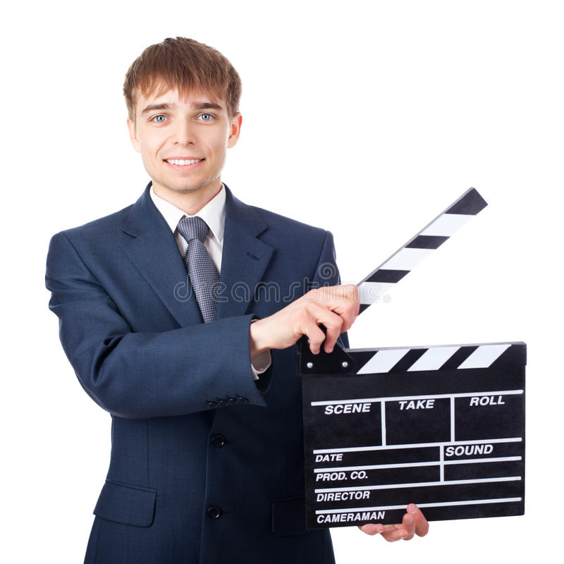 Download Young Smiling Businessman With Clapperboard Stock Image - Image of attractive, clapper: 27266943