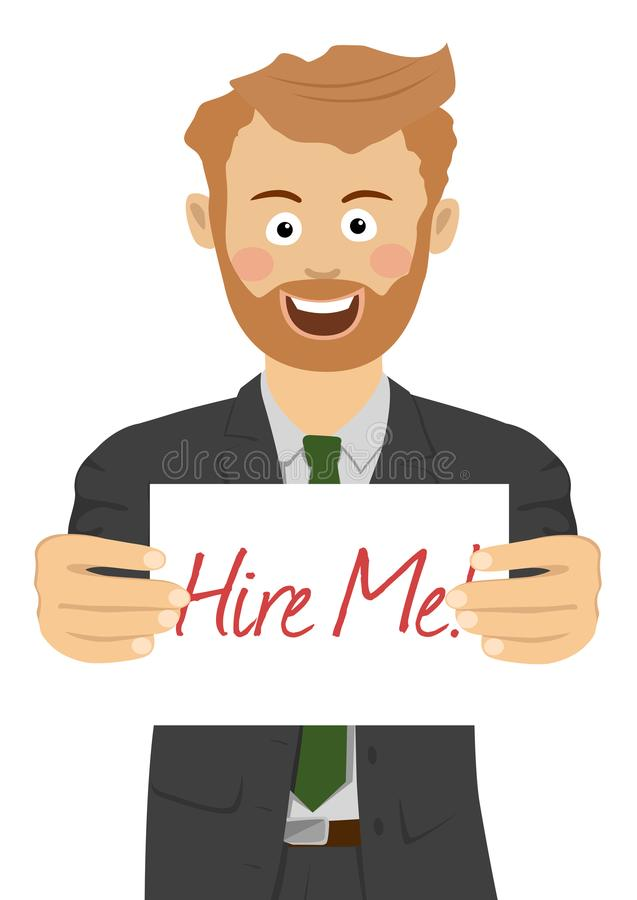 Young smiling businessman showing a paper with hire me text vector illustration