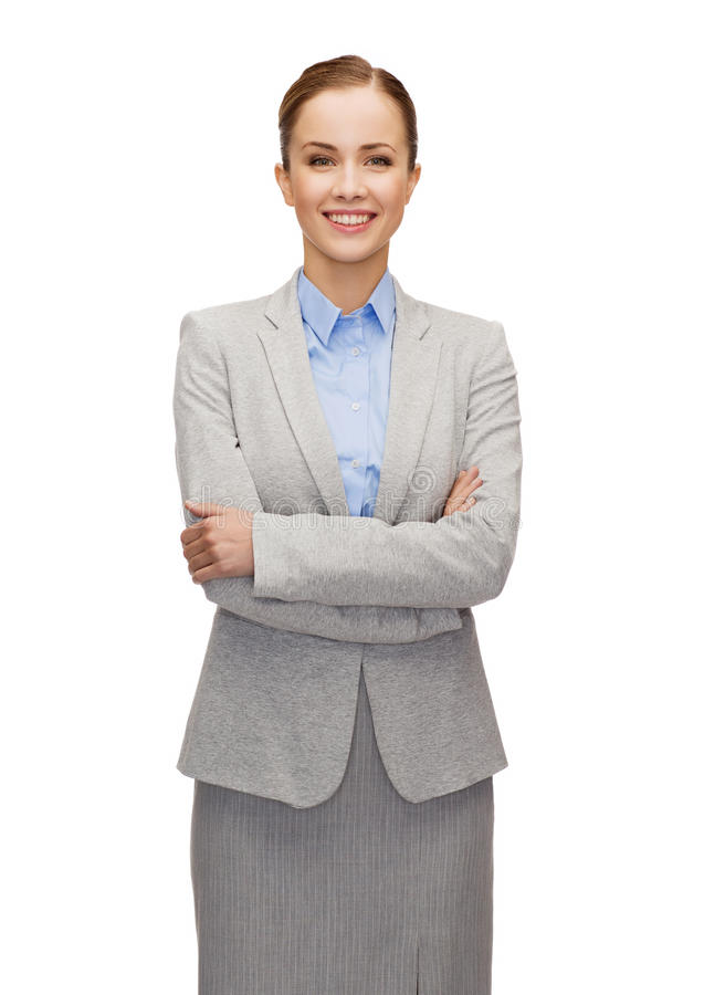 Download Young Smiling Businesswoman With Crossed Arms Stock Image - Image: 40042379