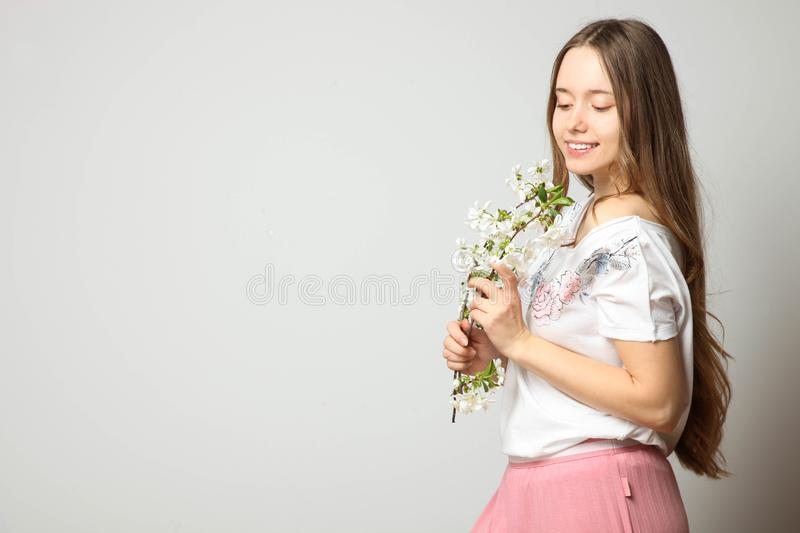 Girl in fashionable stylish spring clothes royalty free stock photos