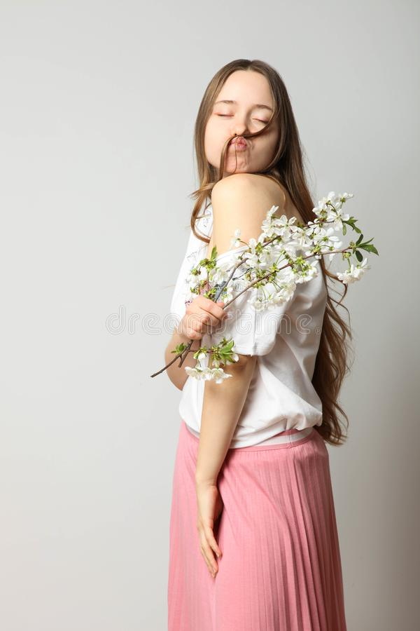 Girl in fashionable stylish spring clothes royalty free stock photography