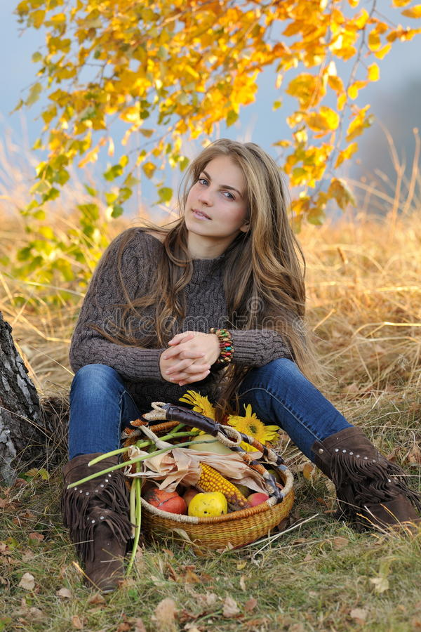 Young smiling caucasian woman outdoor royalty free stock photography