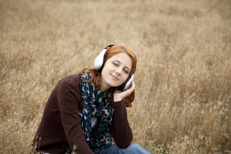 Download Young  Smiling Fashion With Headphones At Field. Stock Image - Image: 15403217