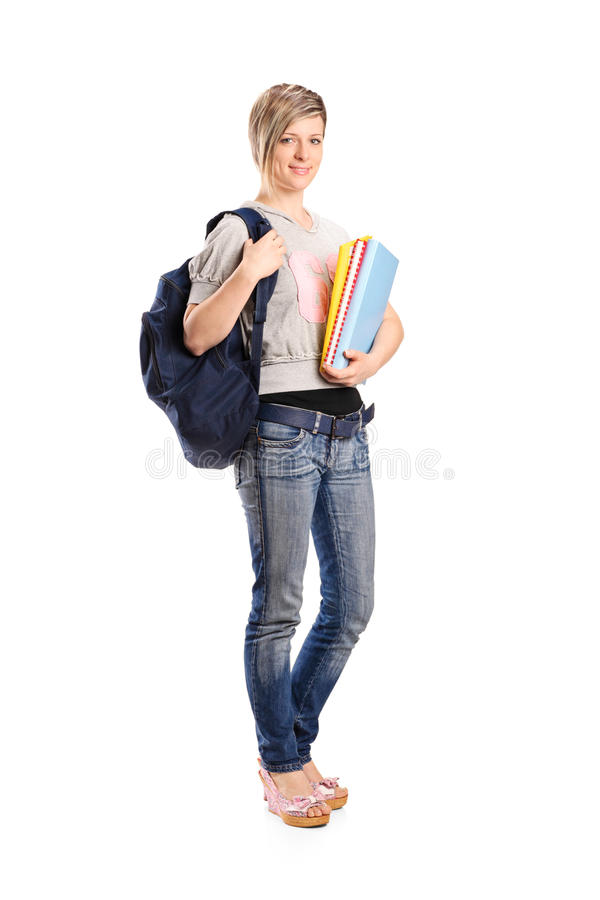 Young Smiling Female Holding A Book Stock Photography
