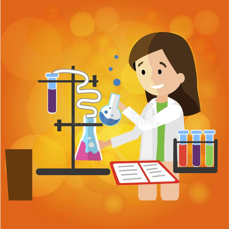 Young Smiling Girl Chemist does Research in Lab. vector illustration