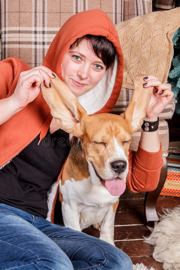 Young smiling girl with funny and silly beagle dog who shows the tongue with closed pleased eyes stock images