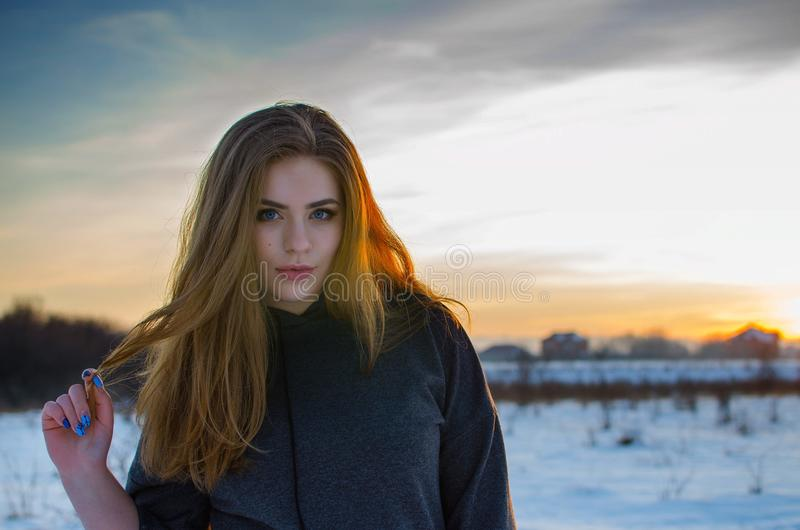Young smiling girl in the winter royalty free stock photography
