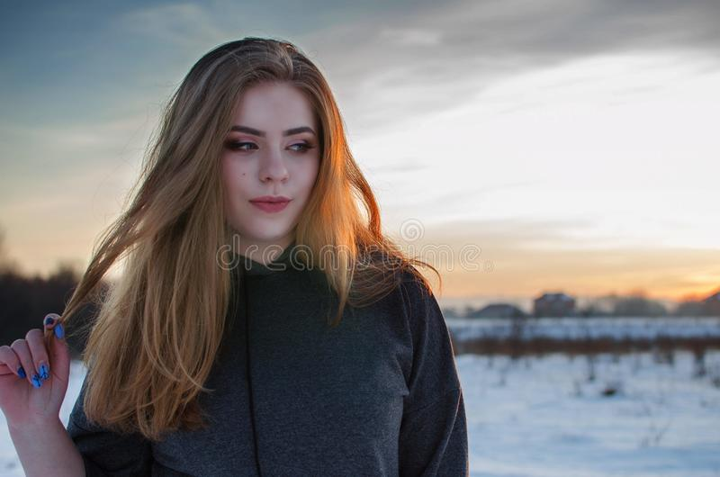 Young smiling girl in the winter stock photos