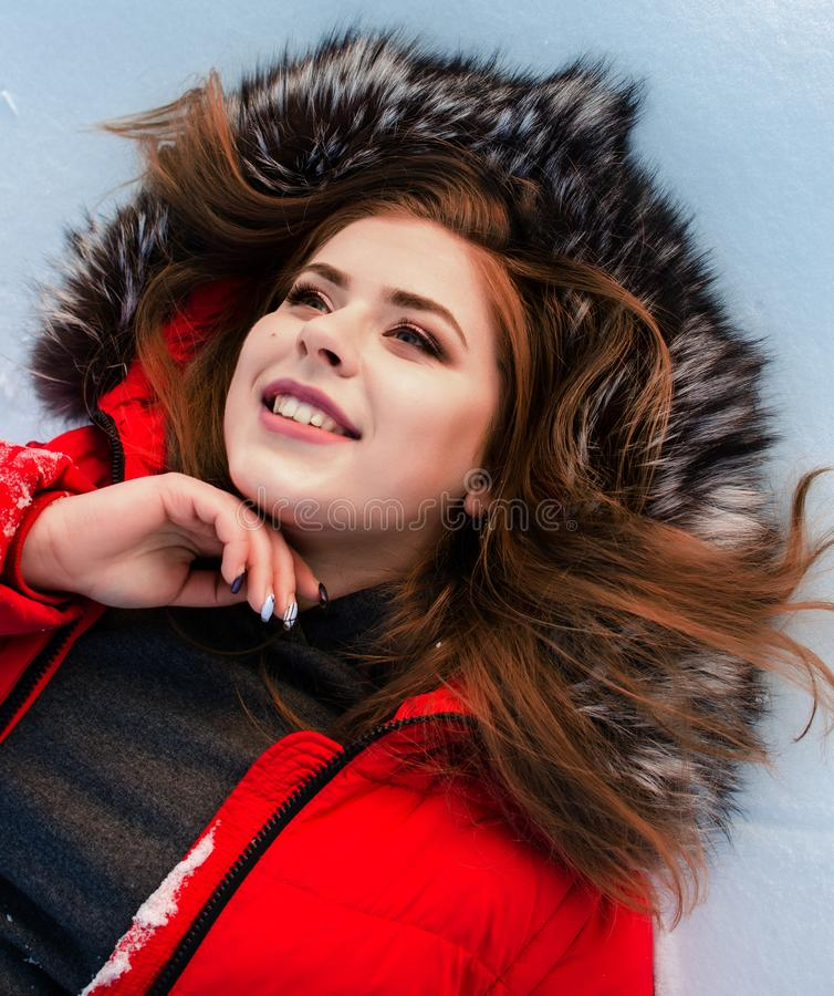 Young smiling girl in the winter stock image