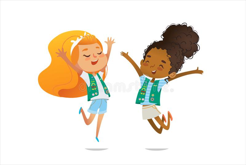 Young smiling girls scout dressed in uniform with badges and patches happily jump isolated on white background. Female royalty free illustration
