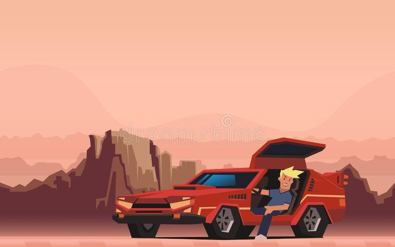 Young smiling guy sitting in red race car on canyon desert background. Happy traveler. Flat vector illustration. Young smiling guy sitting in red racing car on royalty free illustration