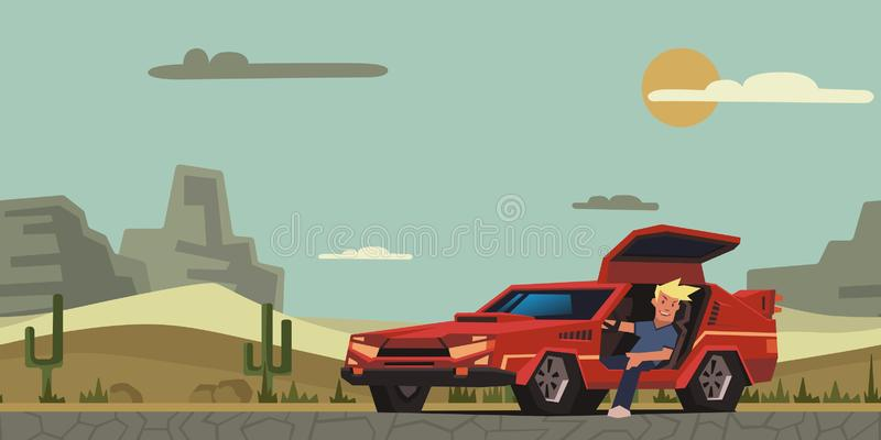 Young smiling guy sitting in red race car on desert background. Happy traveler. Flat vector illustration, horizontal. Young smiling guy sitting in red racing stock illustration