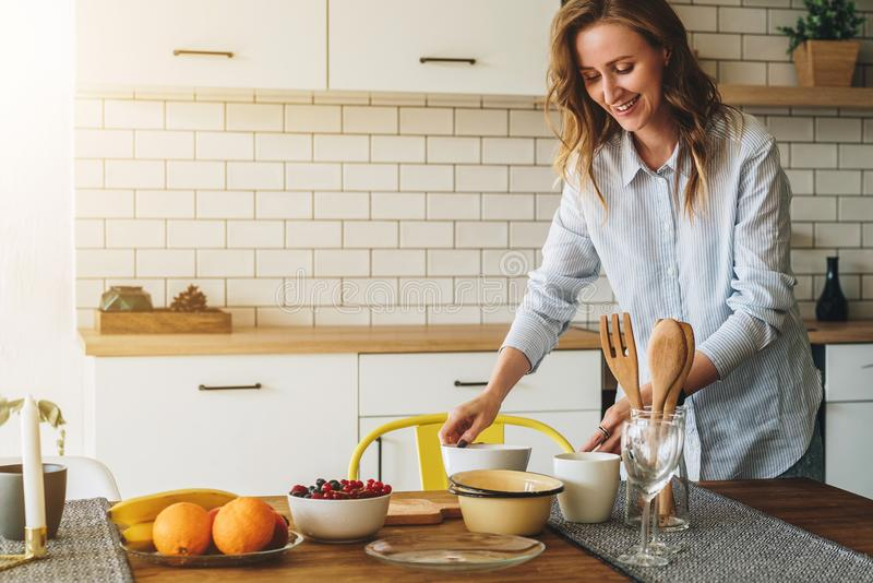 Smiling Woman Cook Cleaning Dishes Stock Image - Image of ...