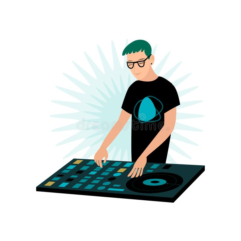 Young smiling male hipster DJ in glasses playing music at console with vinyl record vector illustration