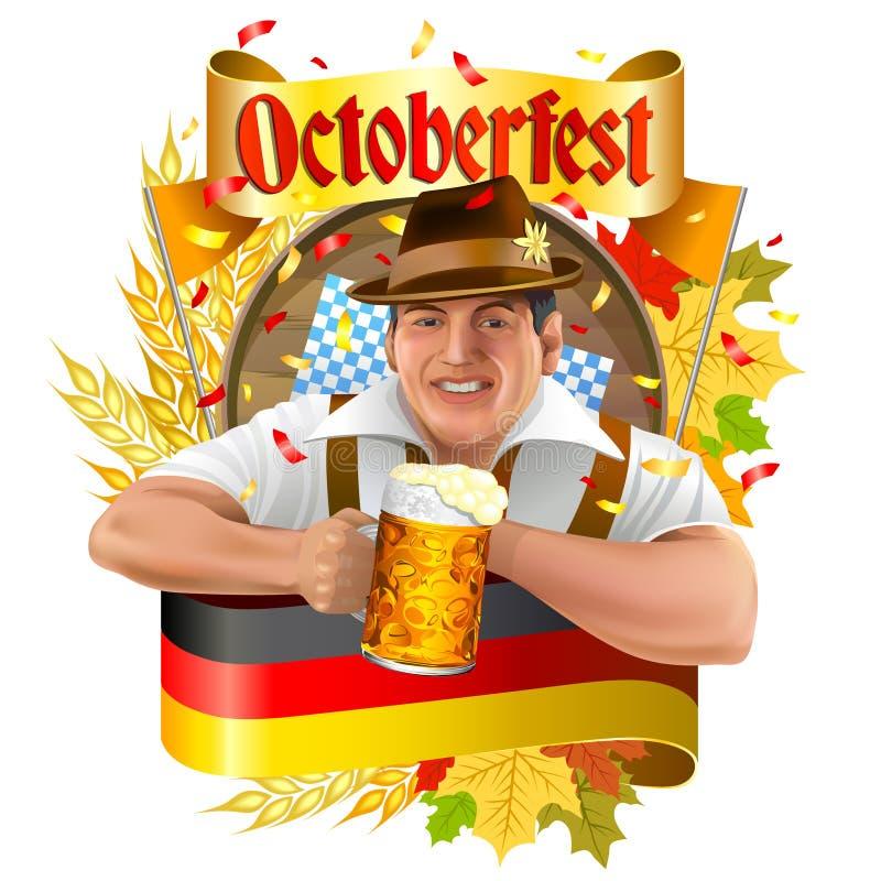 Young smiling man with beer mug royalty free illustration