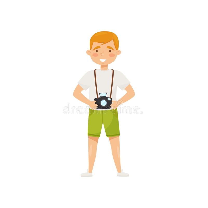 Young smiling man with camera. Cartoon character of tourist. Travel to Vietnam, Asia. Flat vector design royalty free illustration