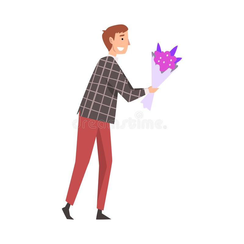 Young Smiling Man Giving Bouquet of Flowers Cartoon Vector Illustration. On White Background stock illustration