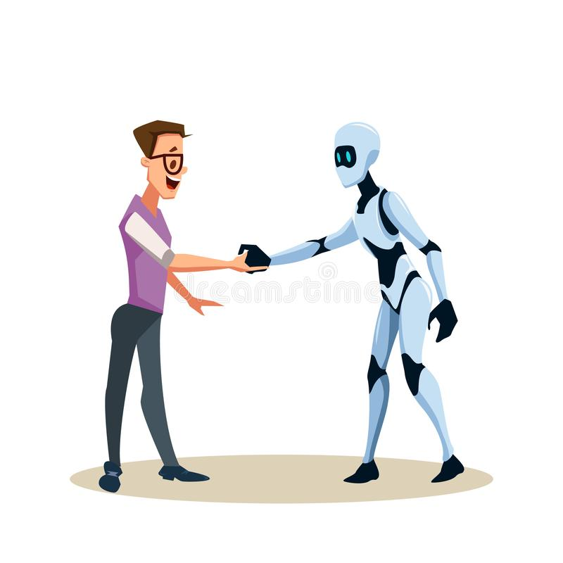 Young Smiling Man in Glasses and Robot Shake Hand. Coworking with Artificial Intelligence Character. Office Worker or Clerk and Male Smart Bot make Agreement royalty free illustration