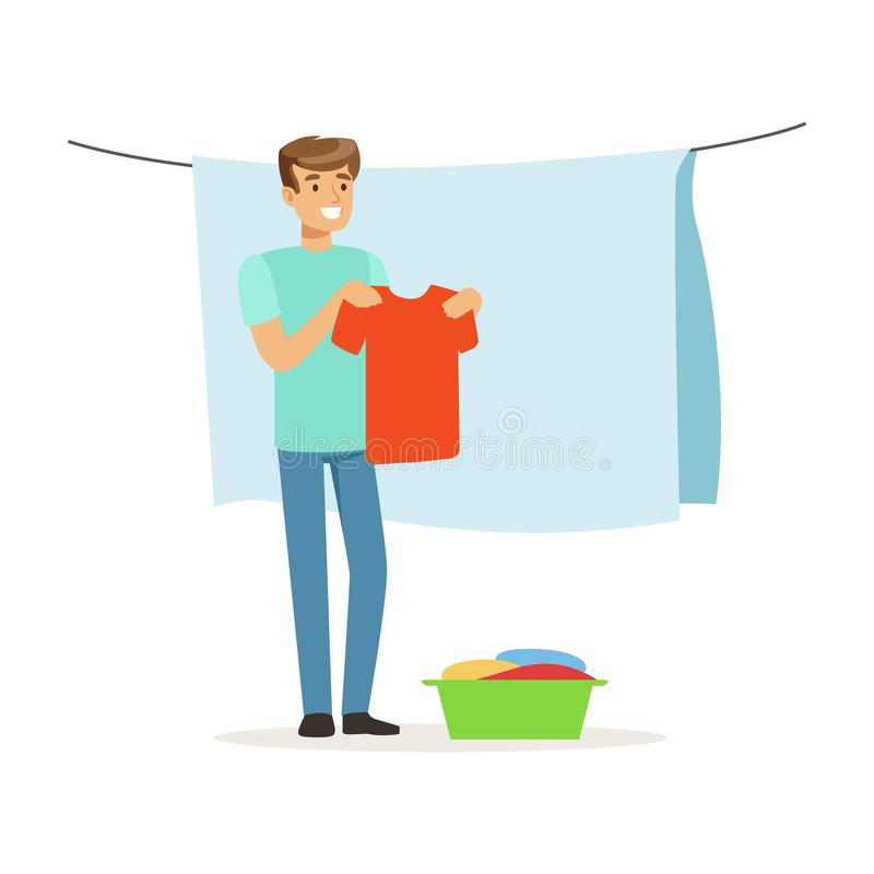 Young smiling man hanging wet clothes out to dry, house husband working at home vector Illustration stock illustration