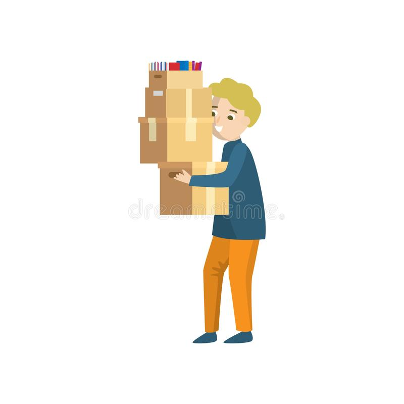 A young man carries four boxes stacked on top of one another. A young smiling man holds four boxes stacked on top of one another. There are books in one of the stock illustration