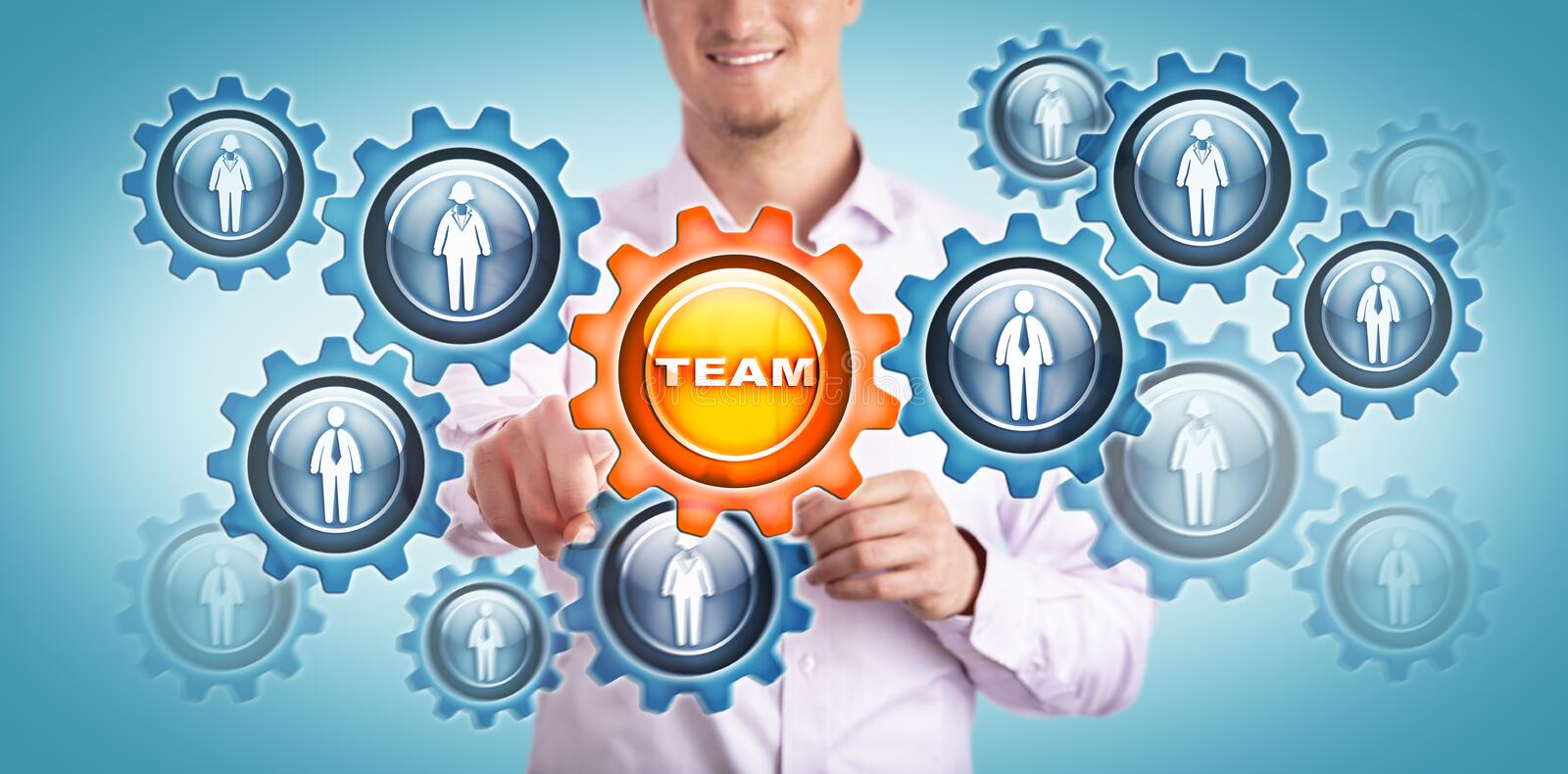 Young Smiling Man Touching TEAM In Gear Train stock photography