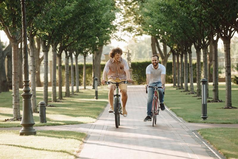 Young smiling men cycling outdoors. Two young cheerful male friends having fun together in green summer park outdoors while riding bikes stock photo