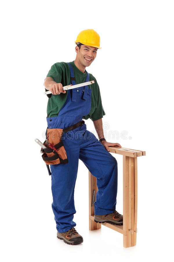 Young smiling Nepalese carpenter stock images