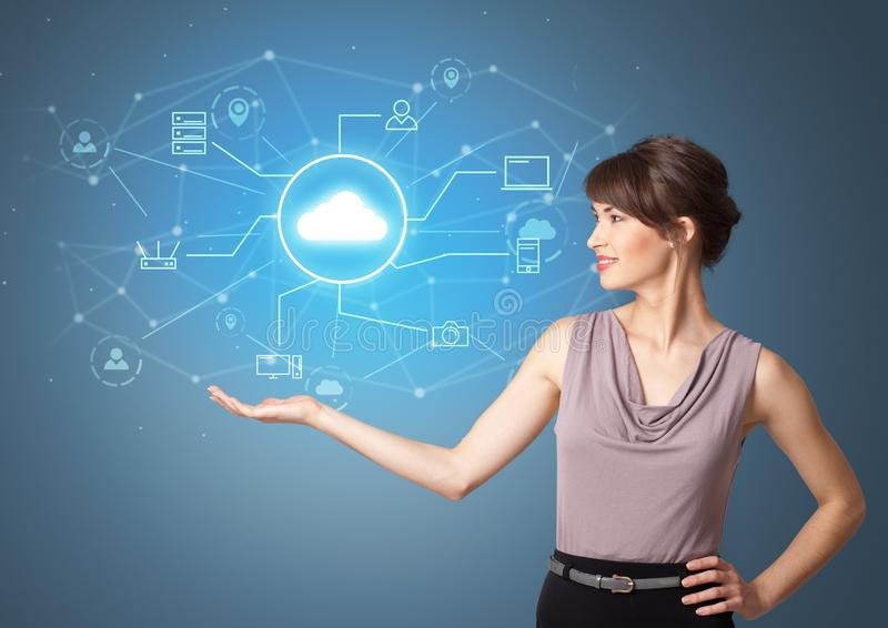Person presenting office cloud technology concept stock illustration