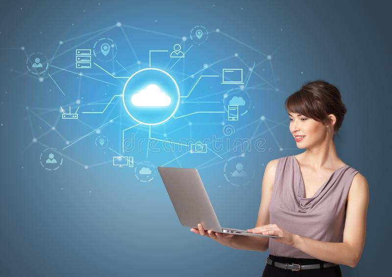 Person presenting office cloud technology concept royalty free stock photos