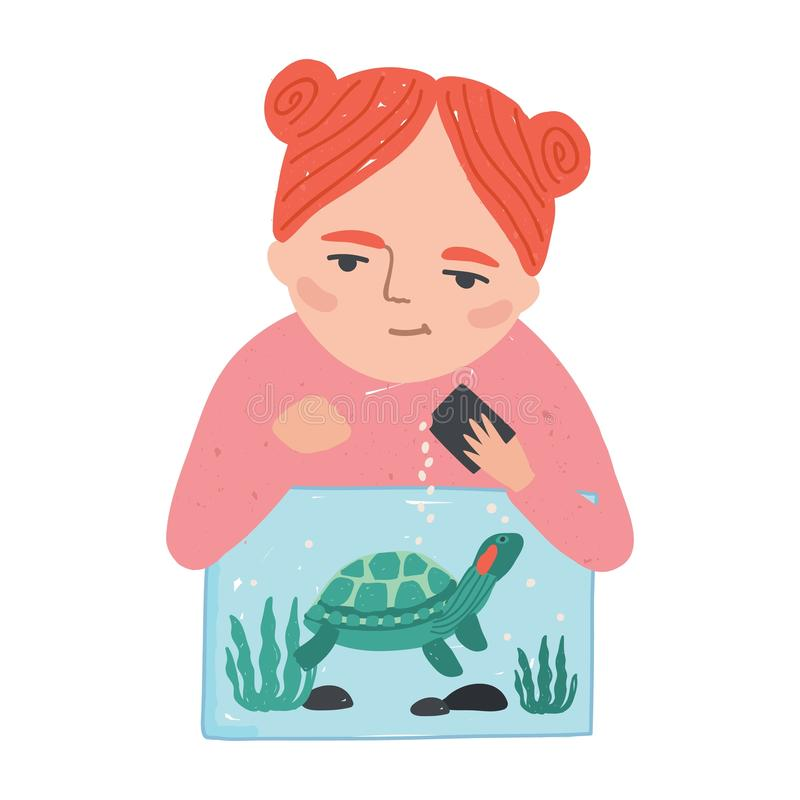 Young smiling redhead woman or girl feeding her turtle, tortoise or terrapin living in terrarium. Adorable female. Cartoon character with domestic reptile. Flat stock illustration