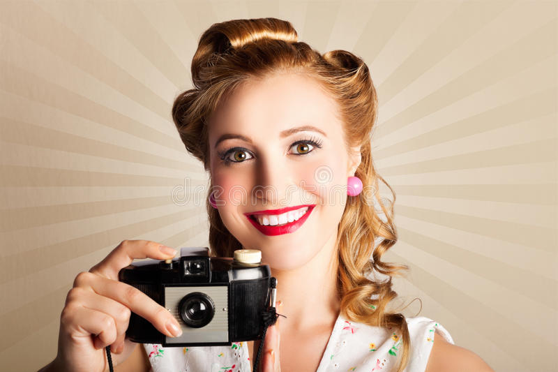 Download Young Smiling Vintage Girl Taking Photo Stock Photo - Image of fashion, female: 28491524
