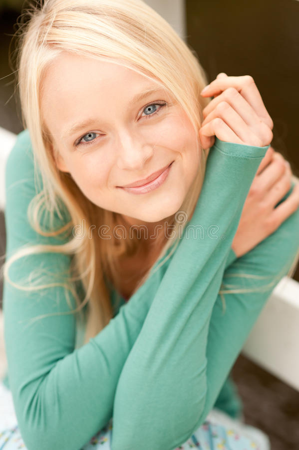 Download Young and smiling woman stock image. Image of outdoors - 21582067