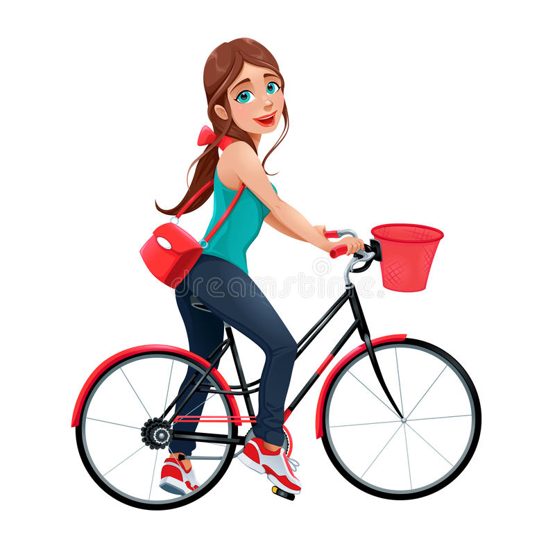 Young smiling woman on a bicycle. Vector cartoon character royalty free illustration