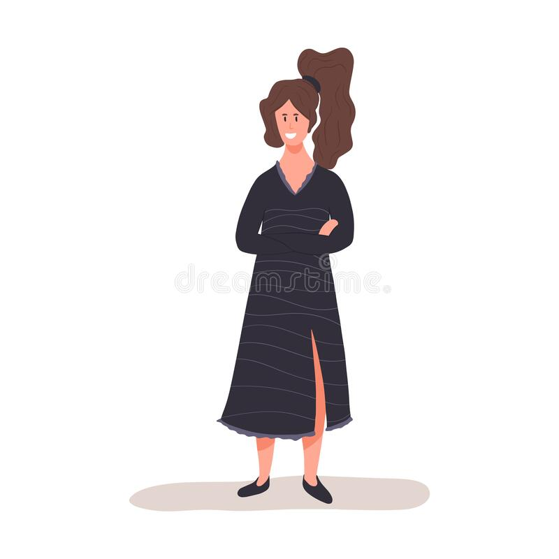 Young smiling woman in black dress standing vector flat illustration. Modern cute woman in casual clothes stock illustration
